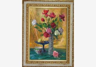 Натюрморт с розами в хрустальной вазе